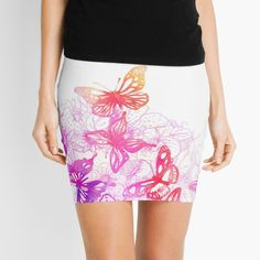 'Pink butterflies' Mini Skirt by knovadesign Pink Butterfly, Butterflies, Phone Covers, Knitted Fabric, Pencil, Mini Skirts, Printed, Awesome, People