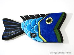 Big Blue Fish Painted