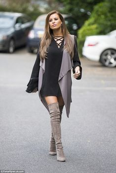 Strutting her stuff: The 29-year-old TOWIE beauty looked fierce and fashionable in her thi...