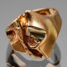 Björn Weckström, LAPPONIA. Sormus, kultaa, 14 k, Geysir, v. 1985. Finland, Jewerly, Heart Ring, Diamond, Rings, Design, Jewlery, Schmuck, Ring