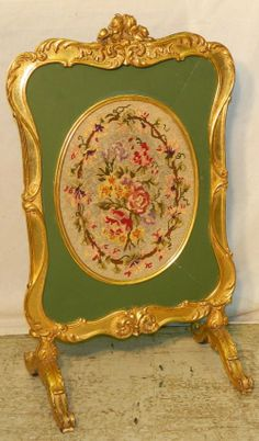 french fire screen | 481: French gold leaf needlepoint fire screen. : Lot 481 Fireplace Guard, Fireplace Screens, Shabby Chic Furniture, Antique Furniture, Floor Screen, Folding Screens, Victorian Era, Gold Leaf, Decoration