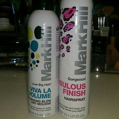 Mark Hill haircare Viva la volume mousse and fabulous finish hairspray 99% left in both. They worked great, but I'm moving and I need to declutter. Mark Hill Makeup