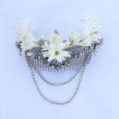 www.gracebridalindustries.com El #tocadodenovia  #vintage de Eva... Un replica original de un #tocado de #novia de los años 20