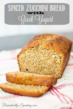 Moist Spiced Zucchini Bread that's made with Greek Yogurt. This bread is packed with spices giving it a great flavor you'll love.  #zucchinibread #zucchini #greekyogurt #breadrecipe via @domesticallyspeaking