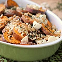 Herbed Sweet Potatoes with Feta and Pine Nuts recipe. Pine nuts were ...