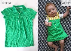 Upcycle a t-shirt into a baby dress - cute! via @danawillard