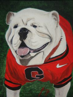 Georgia Bulldog Original Painting 11 X 14