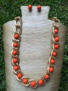 Collar cadena aluminio y turquesa naranja