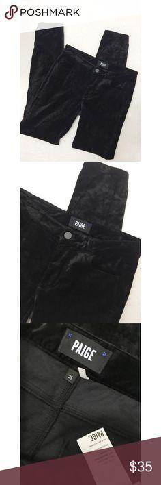 PAIGE Velvet Skinny Pants PAIGE Velvet Skinny Pants.  Perfect condition.  Women's size 25.  Black velvet all over. PAIGE Pants Skinny