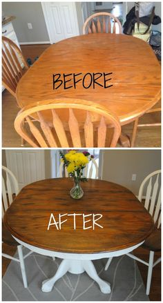 How to give your wood table a complete shabby chic makeover using wood stain and. How to give your wood table a complete shabby chic makeover using wood stain and Annie Sloan chalk paint. Furniture Projects, Furniture Makeover, Furniture Plans, Kitchen Furniture, Furniture Stores, Furniture Online, Garden Furniture, Office Furniture, Origami Furniture