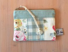 Small patchwork fabric purse, earbud pouch, coin purse, make up bag, Aqua fabric Aqua Fabric, Patchwork Fabric, Handmade Fabric Purses, Coin Bag, Pencil Cases, Fabric Bags, Beautiful Gifts, Pouches, Bag Making