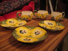 Fitz & Floyd Pansy Tea Cup and Saucer - Rare Vintage -Yellow Pansies in April Showers