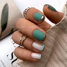 Green Nail Designs, Square Nail Designs, Fall Nail Designs, French Manicure Designs, French Tip Nails, Short French Nails, New French Manicure, French Nail Art, Short Nails