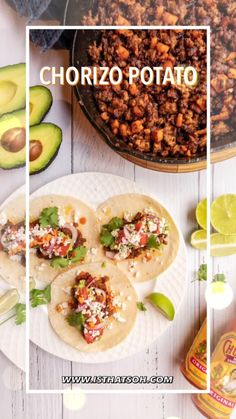 An authentic Mexican taco recipe: Chorizo tacos! This Chorizo taco recipe with potato is so easy and will make you eating delicious and authentic tacos like you would do in Mexico! #Mexican