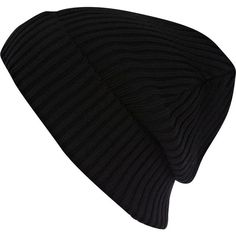 River Island Black turn up ribbed beanie (305 CZK) ❤ liked on Polyvore featuring accessories, hats, beanies, gorros, black beanie, ribbed hat, black hat, black beanie hat and beanie hats