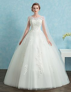 Ball+Gown+Wedding+Dress+Vintage+Inspired+Cathedral+Train+Scoop+Lace+Satin+Tulle+with+Lace+Sequin+–+USD+$+370.00