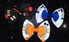Galactic Inspired Hair Bows - Star Wars Costumes - Latest Star Wars Costumes - Darth Vader and Inspired Hair Bows by PreciousWonderland Theme Star Wars, Star Wars Party, Disney Diy, Disney Crafts, Geeks, Disney Hair Bows, Star Wars Crafts, Darth Vader, Disney Colors