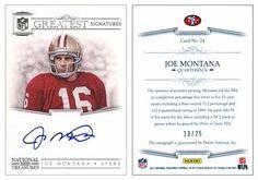 Joe Montana 2012 Panini National Treasures 24 NFL Greatest Signatures Autograph (#23/25)