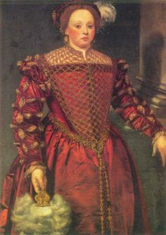 Portrait of a Young Woman, Unknown,Venetian School, 1540s. I like the partlet down till the waist.