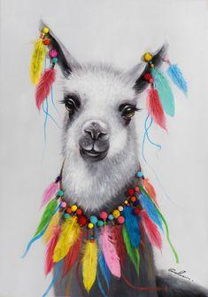 Lama with Colourful Feathers Acrylic Painting Print on Canvas Alpacas, Llamas Animal, Llama Drawing, Tableau Pop Art, Llama Arts, Art Fantaisiste, Painting Prints, Art Prints, Paintings