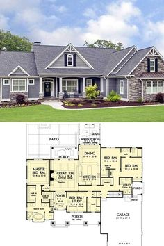 House Plans One Story, New House Plans, Dream House Plans, Modern House Plans, Small House Plans, House Floor Plans, House Floor Plan Design, Dream Houses, New Houses