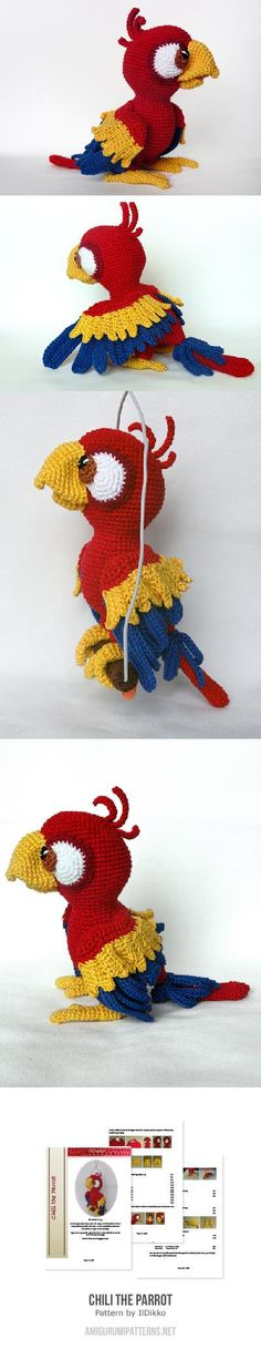 Chili the Parrot  $5.80 Found+at+Amigurumipatterns.net
