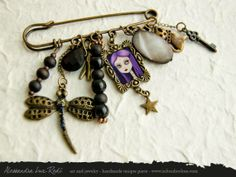 portrait cameo brooch- Violet art jewelry