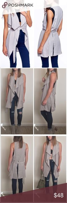 """Avery • Sleeveless Waterfall Duster Jacket A staple for all closets, this vest is lightweight and stylish. Draped lapels & waist tie belt. Side & back vents.   c o n t e n t 97% polyester 