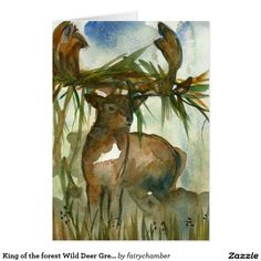 King of the forest Wild Deer Greeting Card