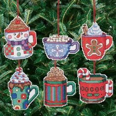 """Cocoa Mug Ornaments Counted Cross Stitch Kit-3.5""""""""X3.5"""""""" 14 Count Set Of 6"""