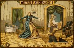 "Whiteley's Original Hidden Hand Co., performing arts poster, 1884  Whiteley's Original Hidden Hand Co. ""Then let it be the kiss of death!"" Woodcut for performance troupe by Jno. B Jeffery Printing & Engraving Chicago, 1884."