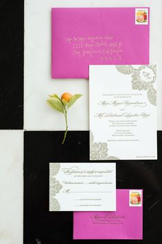 Pink and Black Invitation Suite   The Aerialist Press   Melanie Duerkopp Photography   TheKnot.com