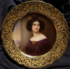 Joseph Karl Stieleri painted the 19th century portraits known as the Gallery of Beauties of ladies of the German Court. On ornately gilded porcelain.