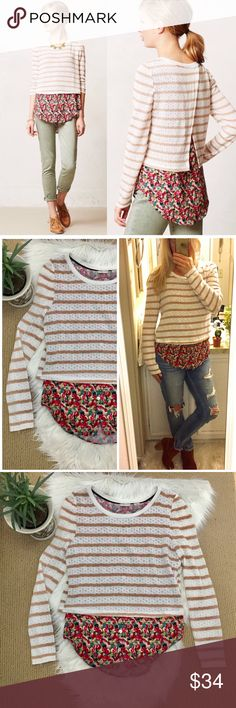 "Anthropologie Postmark Striped Sweater Cute mixed media sweater top from Anthro. The under layer is a floral blouse, the top is a lightweight white and tan striped sweater with a crossover slit on the back. Long sleeves. Perfect for spring! ▪️Size Small ▪️17.5"" flat across bust and 27.5"" shoulder to back hem. In good condition! ▪️BIN006 Anthropologie Tops"