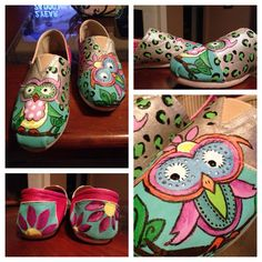 Kids and Ladies Painted Canvas Shoe on Etsy, $52.00