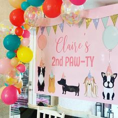 Toddler Birthday Themes, 2nd Birthday Party For Girl, Puppy Birthday Parties, Second Birthday Ideas, Dog Birthday, Toddler Party Ideas, Birthday Party Venues, Puppy Party, Adoption Certificate