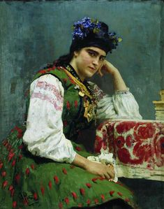 'Portret van Sophia Dragomirova',1889 / Ilja Repin (1844-1930) / Russisch Museum, Sint-Petersburg, Rusland.