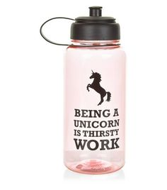 Shell Pink Thirsty Unicorn Slogan Water Bottle | New Look