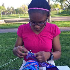 This beautiful young lady is in the Knitting class I teach at the south MPLS Boys & Girls Club. Besides knitting we make friendship bracelets God's Eyes weaving and more. Unfortunately there's no budget for art supplies so if any of you lovely folks out there have any spare yarn Popsicle sticks safety pins buttons knitting needles embroidery hoops or crochet hooks that you'd be willing to donate we'd be very grateful!  Our next big project will be for the MN State Fair! These cool kids are…