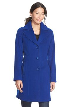 Single Breasted Wool Blend Coat