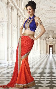Picture of Fashionable Red and Orange Color Casual Saree