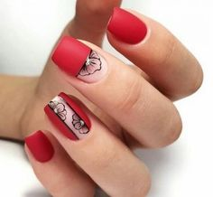 Nail art Christmas - the festive spirit on the nails. Over 70 creative ideas and tutorials - My Nails Square Nail Designs, Red Nail Designs, Short Nail Designs, Short Square Nails, Short Nails, Space Nails, Nail Polish, Minimalist Nails, Nail Decorations