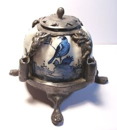 Circa 1720 Antique Faience Inkwell Sgnd by artfuloldies on Etsy, $750.00
