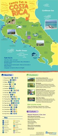 Costa Rica Vacation Map for Family Vacations - an Infographic from HomeAway Travel Ideas #FamilyVacation
