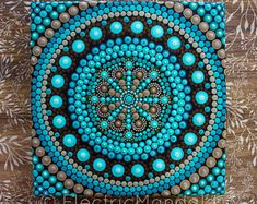 Medium Dot Mandala Painting on Canvas | Teal | Turquoise | Dot Art | Beautiful New Mandala #mandala #Etsy