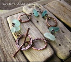 Copper and sea glass organic bracelet £20.00