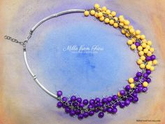 Excited to share the latest addition to my #etsy shop: Handmade acrylic beads necklace sunny yellow and purple violet with brass tubes two colors http://etsy.me/2BKXt7m