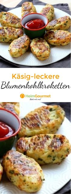 Cauliflower croquettes with cheese: healthy and low in calories, croquettes dish . - Cauliflower croquettes with cheese: healthy and low in calories, croquettes d - Veggie Recipes, Baby Food Recipes, Low Carb Recipes, Cooking Recipes, Healthy Recipes, Easy Recipes, Les Croquettes, Soul Food, German Recipes
