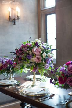 Rich purple centrepieces and flowers for a wedding! PURPLE & GOLD FRENCH ANTIQUITY WEDDING THEME www.elegantwedding.ca