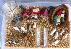 farm animals sensory bin